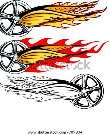 Vector illustration of a rim with fiery wings and burning fire.  The vectors are VERY CLEAN and ready for vinyl cutting, great also for screen printing and any other design work. - stock vector
