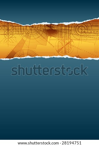 Vector illustration of a ripped paper with technical background, blue&yellow pattern. - stock vector