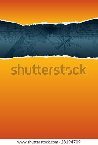 Vector illustration of a ripped paper with technical background, orange pattern. - stock vector