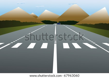Vector illustration of a road leads to the hills - stock vector