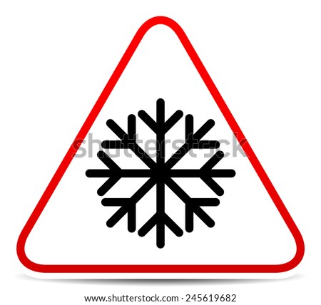 Vector illustration of a road sign with snowflake symbol. Extreme weather, storm. Eps 10 - stock vector