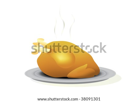 Vector illustration of a roast turkey on a platter. Isolated on white - stock vector