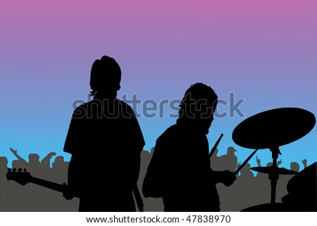 Vector illustration of a rock musician concert - stock vector