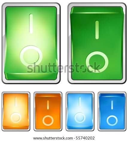 """Vector illustration of a rocker switch, with both on and off positions. Switch is lighted when in """"on"""" position. Built with several layers for easy editing. - stock vector"""