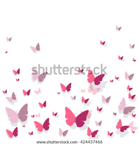 Vector Illustration of a Romantic Background with Paper Butterflies - stock vector