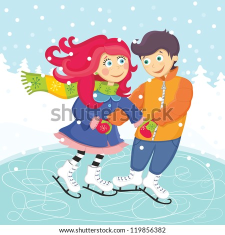 vector illustration of a romantic couple in winter - stock vector