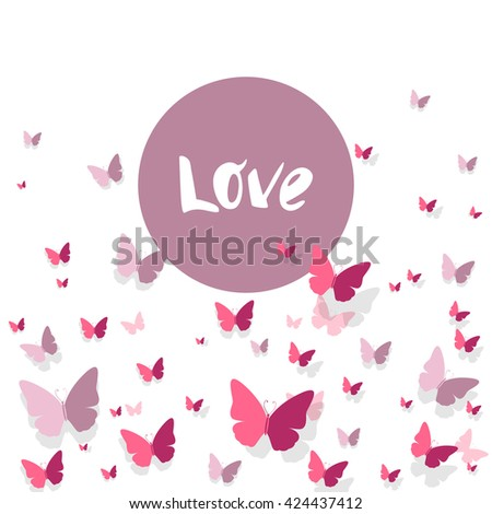 Vector Illustration of a Romantic Love Background with Paper Butterflies - stock vector
