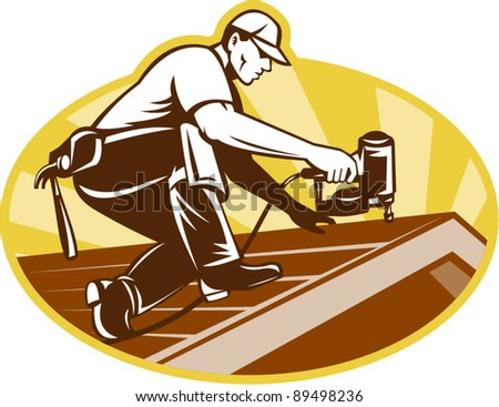 vector Illustration of a roofer roofing worker working on roof with nail gun with sunburst in background done in retro style. - stock vector