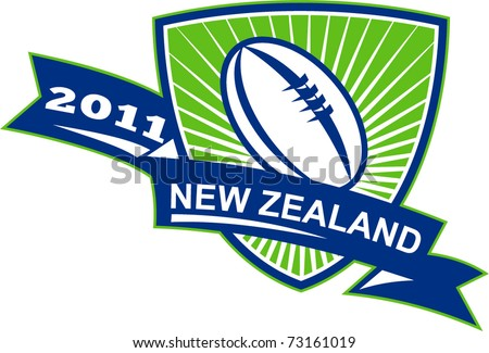 """vector illustration of a rugby ball inside shield with sunburst and words """"New Zealand 2011"""" - stock vector"""