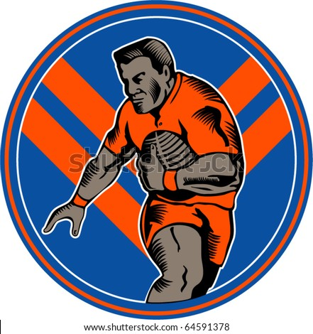 vector illustration of a Rugby league player running with ball set inside oval with chevron in background set in circle done in woodcut style