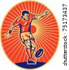 vector illustration of a rugby player kicking the ball set inside ellipse done in retro style - stock photo