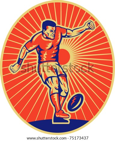 vector illustration of a rugby player kicking the ball set inside ellipse done in retro style - stock vector