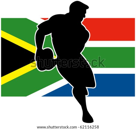 vector Illustration of a rugby player running passing ball with flag of South Africa in background - stock vector