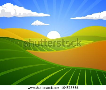 Vector Illustration of a Rural Landscape - stock vector