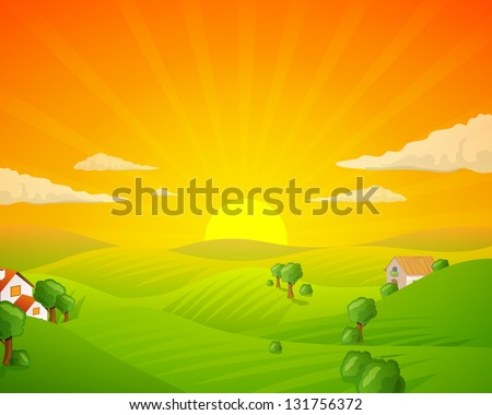 Vector Illustration of a Rural Landscape with Fields and Hills - stock vector