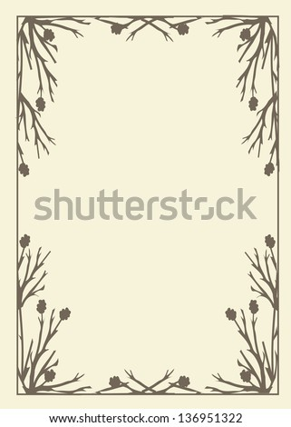 Vector illustration of a rustic style frame made up of a tree branch design on a light background. - stock vector