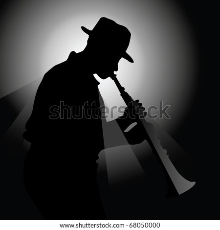 Vector illustration of a saxophonist - stock vector
