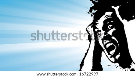 Vector illustration of a screaming man grunge glowing banner with corner splatter design element and light stripes behind it. - stock vector