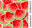 Vector illustration  of a seamless background with watermelon - stock