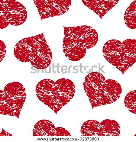Vector illustration of a seamless pattern with the red grunge hearts - stock vector