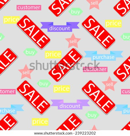 Vector illustration of a seamless texture with inscriptions sale. - stock vector