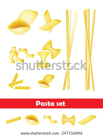 vector illustration of a selection of different types of pasta. - stock vector