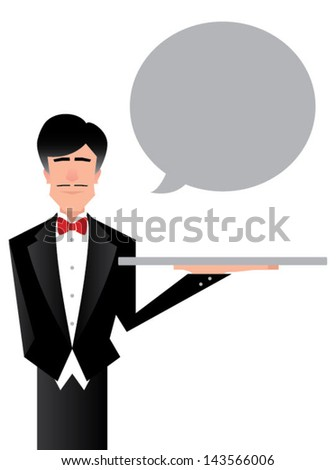 Vector Illustration of a servant character holding an empty silver platter - stock vector
