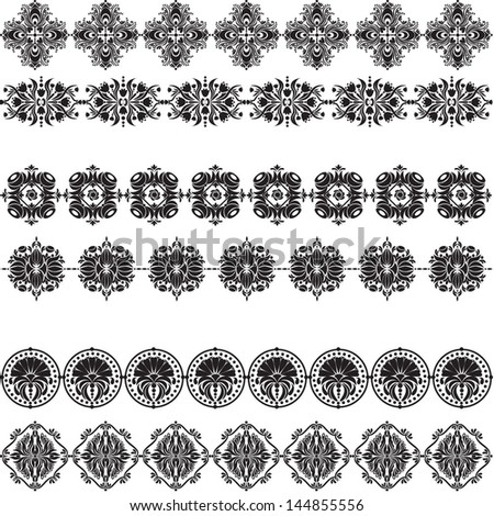 Vector illustration of a set, collection of damask elements