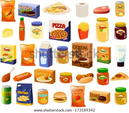 Vector illustration of a set of a bachelor's stereotypical food items. - stock vector