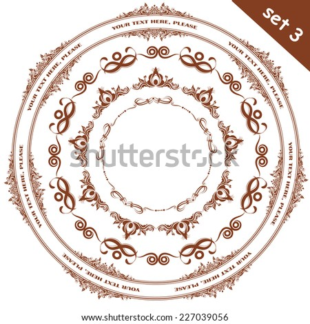 Vector illustration of a set of calligraphic frames, divider elements brushes samples, isolated on white - stock vector