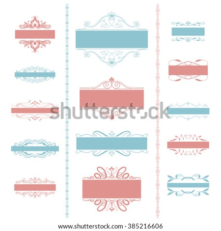 Vector illustration of a set of calligraphic page dividers, floral elements and frames for scrapbook and other designs