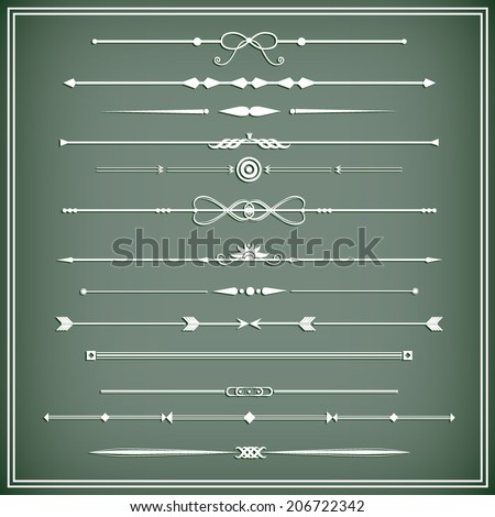 Vector illustration of a set of chapter dividers and floral/ornamental lines, eps 10 - stock vector
