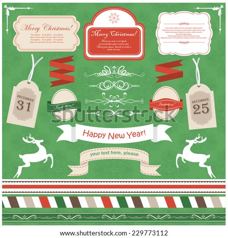 Vector illustration of a set of design tags, labels, dividers and other objects dedicated to Christmas and New Year theme, in red and green colors - stock vector