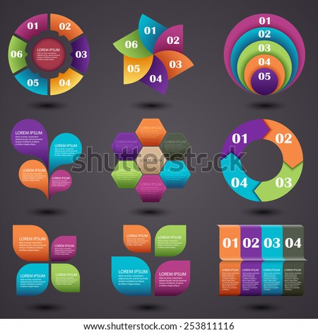 Vector illustration of a set of elements of graphic information - stock vector
