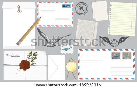 Vector illustration of a set of envelopes and tags and paper for writing letters - stock vector
