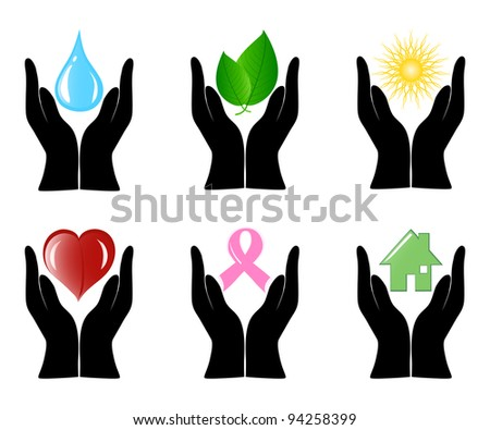 Vector illustration of a set of environment icons with human hands. - stock vector