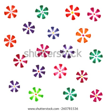 Vector illustration of a set of flower images executed in watercolor. - stock vector