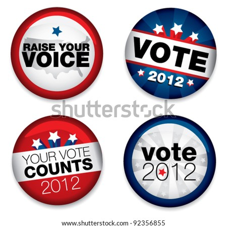 Vector Illustration of a set of four 2012 election buttons. - stock vector