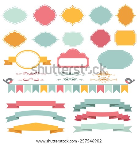 Vector illustration of a set of frames, pennants, page dividers and other design elements for scrapbook and decorations - stock vector
