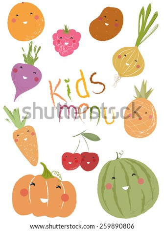 Vector illustration of a set of fruits, berries and vegetables for kids education, designs and scrapbook decorations, menu template  - stock vector