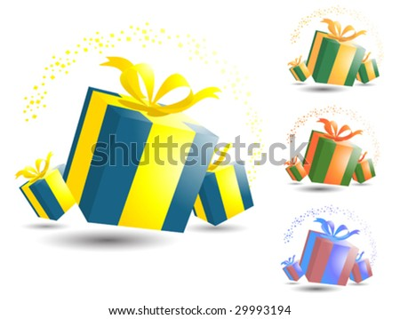 Vector illustration of a set of gift boxes. The file contains three added color schemes. The colors can easily be modified to accommodate different color schemes.