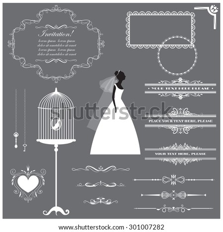 Vector illustration of a set of labels, page dividers, frames and other design elements for wedding invitation templates and other arts and designs