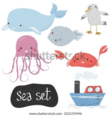 Vector illustration of a set of marine animals and objects for kids, isolated on white, hand drawn - stock vector