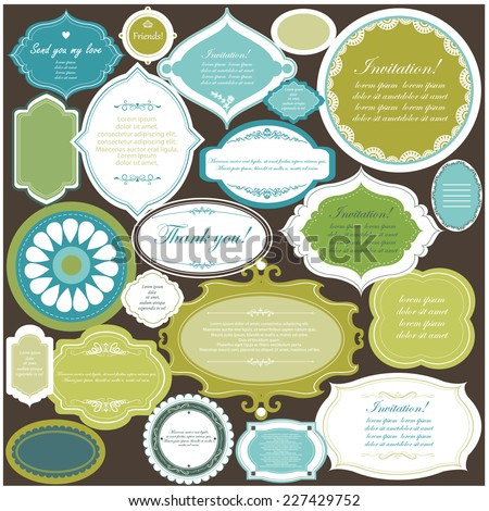 Vector illustration of a set of scrapbook design frame for tags, labels, discount cards - stock vector