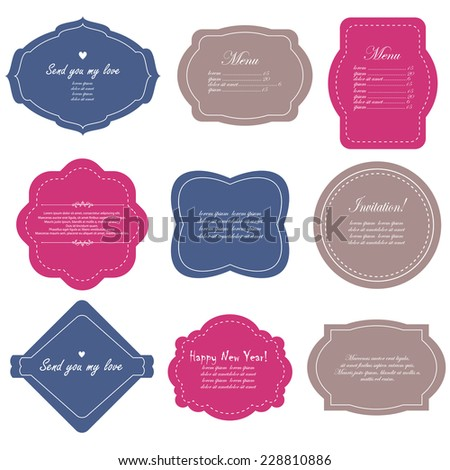 Vector illustration of a set of scrapbook design frame for tags, labels, discount cards