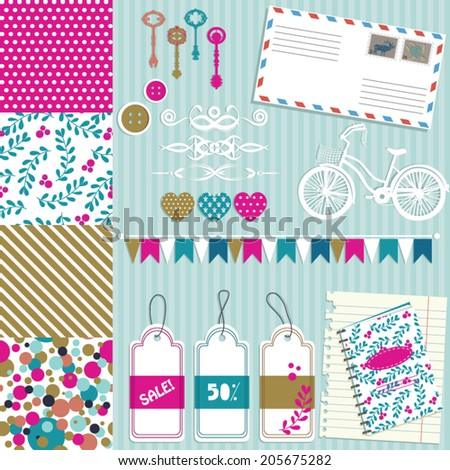 Vector illustration of a set of scrapbook paper, tags, pennants and other designs - stock vector