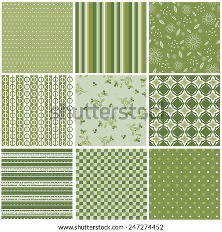 Vector illustration of a set of seamless backgrounds in pastel mild green colors for scrap book, gift paper and other design - stock vector