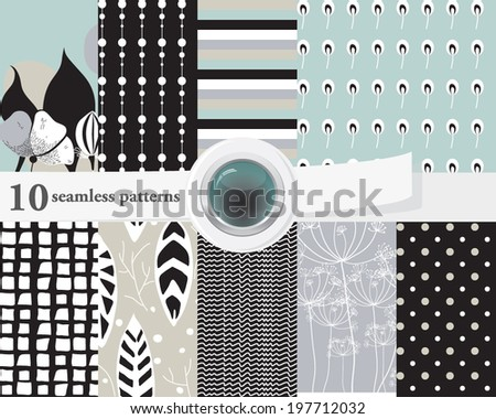 Vector illustration of a set of seamless patterns and backgrounds in contrast colors, romantic, Scandinavian theme. - stock vector