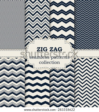 Vector illustration of a set of seamless patterns zig zag. - stock vector