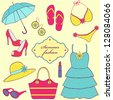 Vector illustration of a set of summer women's clothing - stock photo